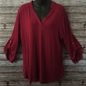 Ali & Kris Wine Colored Tunic Top